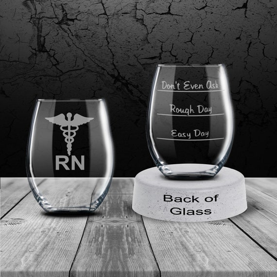 Don/'t Even Ask Rough Day Engraved  Easy Day 11oz Wine Glass Gift