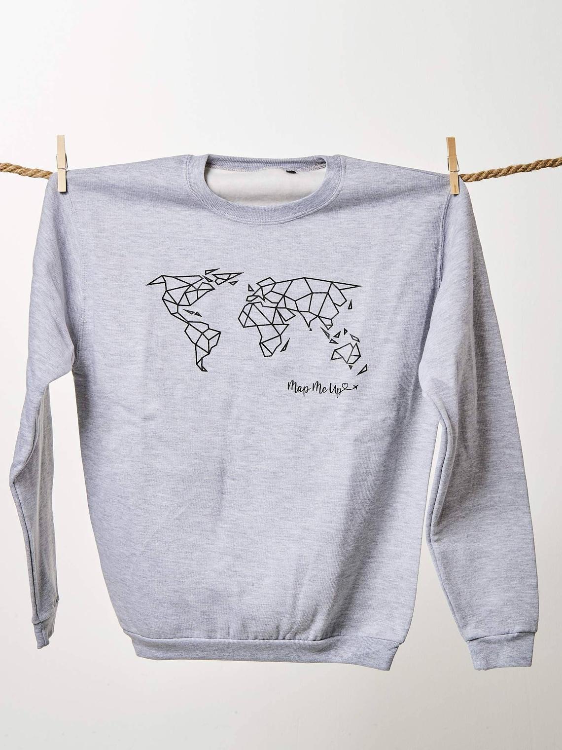 World Map Sweater.Geometric World Map Sweater Etsy