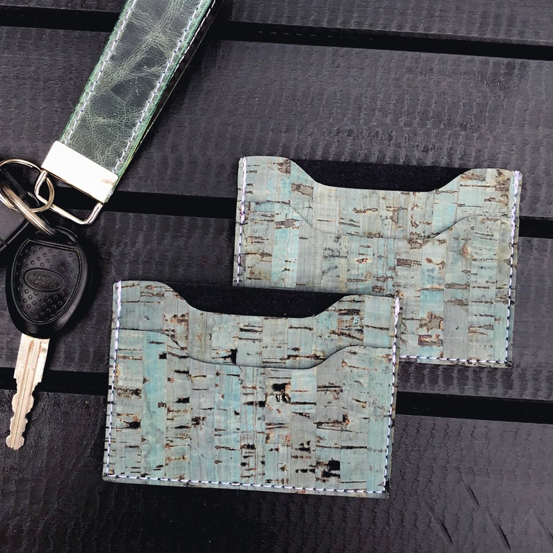 Minimalist Wallet Tourquise Vegan Leather Cork Card Wallet
