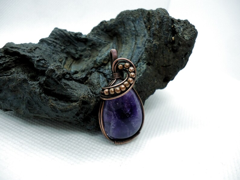 Bohemian Amethyst necklace February birthstone necklace Amethyst pendant Unique gift woman gemstone necklace Amethyst copper necklace