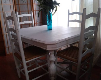 White furniture shabby chic French Shabby Chic Furniture Farmhouse Table Kitchen Table Country Chic Table Dining Room Furniture White Table White Chairs Pulehu Pizza Shabby Chic Furniture Etsy