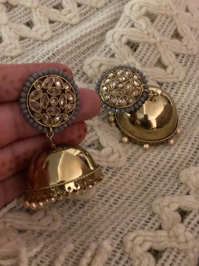 silver jhumki indian earrings indian jewelry silver oxidized jhumka, pakistani jewelry oxidized jhumka Kundan jewelry indian jhumki