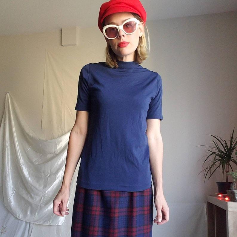 Mod 60s vintage navy blue mockneck tee shirt short sleeve sweater