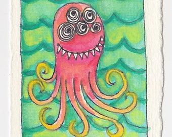 Merry Sea Monster - Original Watercolor
