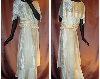 1920s 1930s Flapper Wedding Dress Ivory Silk Lace Chiffon Elegant Sz 6 #1384