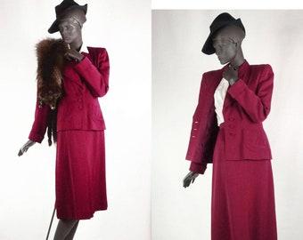 1940s Wool Suit Burgundy 2 Piece Tailored Sz 8 #1450AB