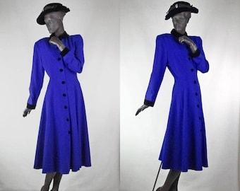 1940s Style Dress Cobalt Blue Shirtwaist Coat Dress Velvet Trim Nipon Sz 12 #1473