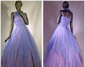 1940s Ball Gown Princess Dress Lavender Dusky Blue Tulle Sz 10 #1291