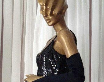 Vintage Little Black Dress All Over Sequins Sz 8-10