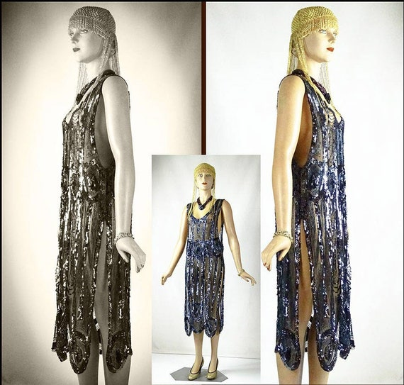 Original 1920s Flapper Beaded and Sequin Iridescen