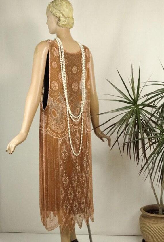 1920s Beaded Evening Dress Silk Chiffon Flapper O… - image 6
