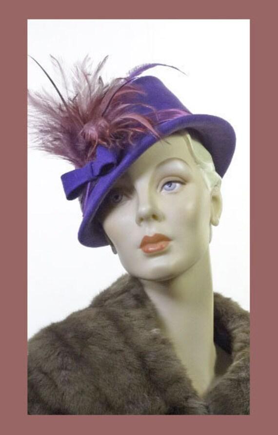 1940s Wool Fedora Mini Feather Trim Iconic Sz 7 #1