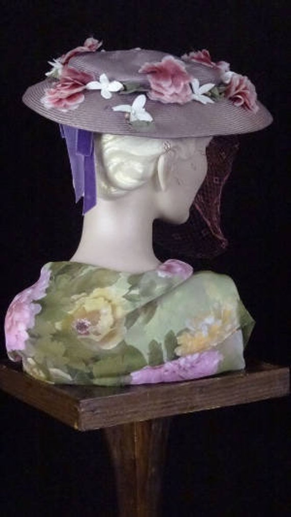 1940s Elegant Purple Platter Hat with Magenta Veil