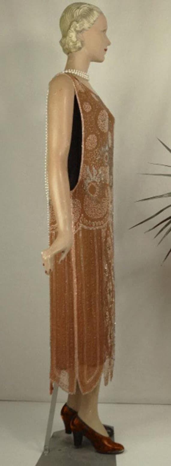 1920s Beaded Evening Dress Silk Chiffon Flapper O… - image 4