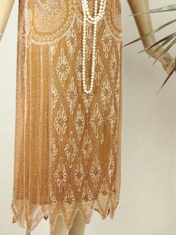 1920s Beaded Evening Dress Silk Chiffon Flapper O… - image 3