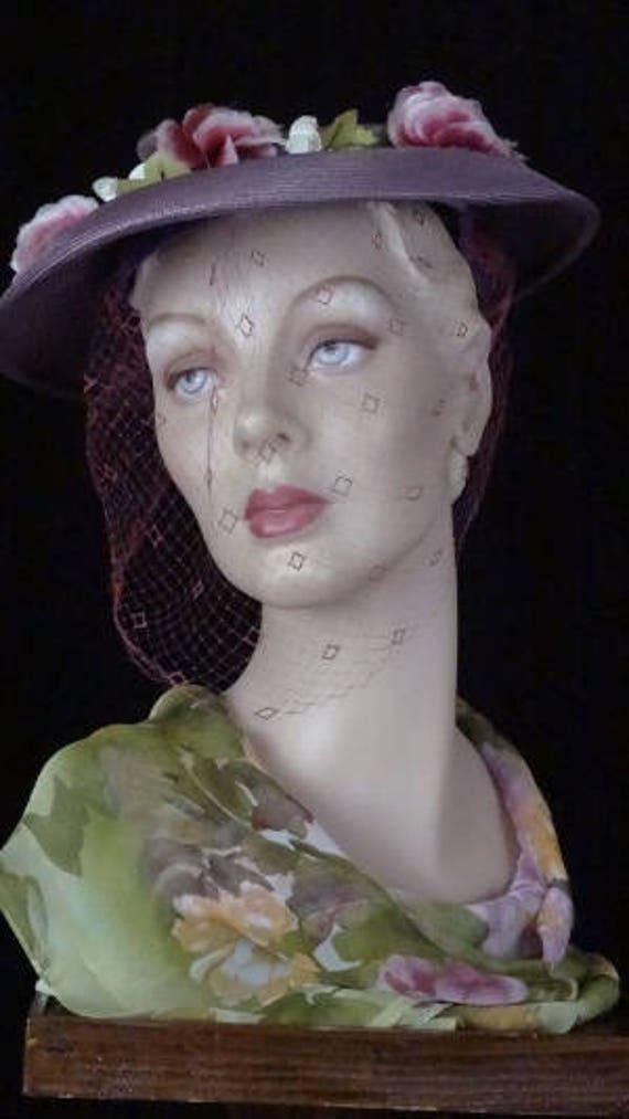 1940s Elegant Purple Platter Hat with Magenta Vei… - image 5