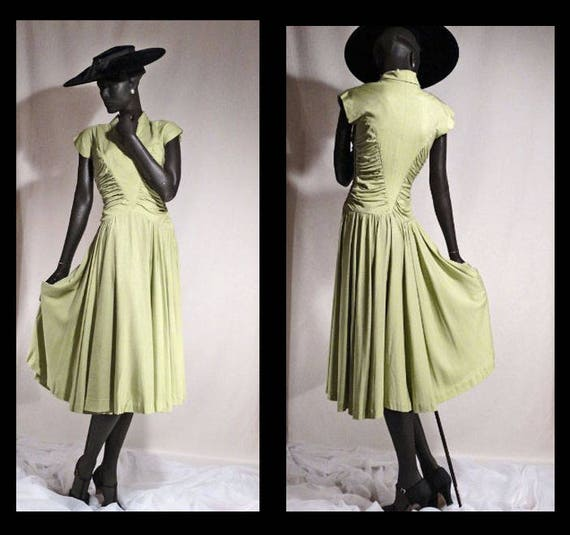 1940s Dress Soft Chartreuse Green Full Sweep Skirt
