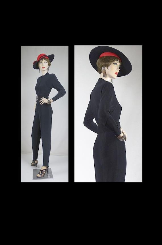 1950s Style Black Jumpsuit and Belt Sz 6 #1573AB