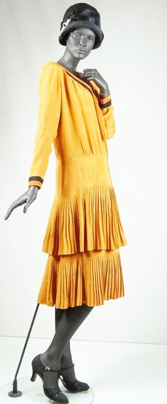 1920s Flapper Day Dress Pleated Silk Drop Waist G… - image 7
