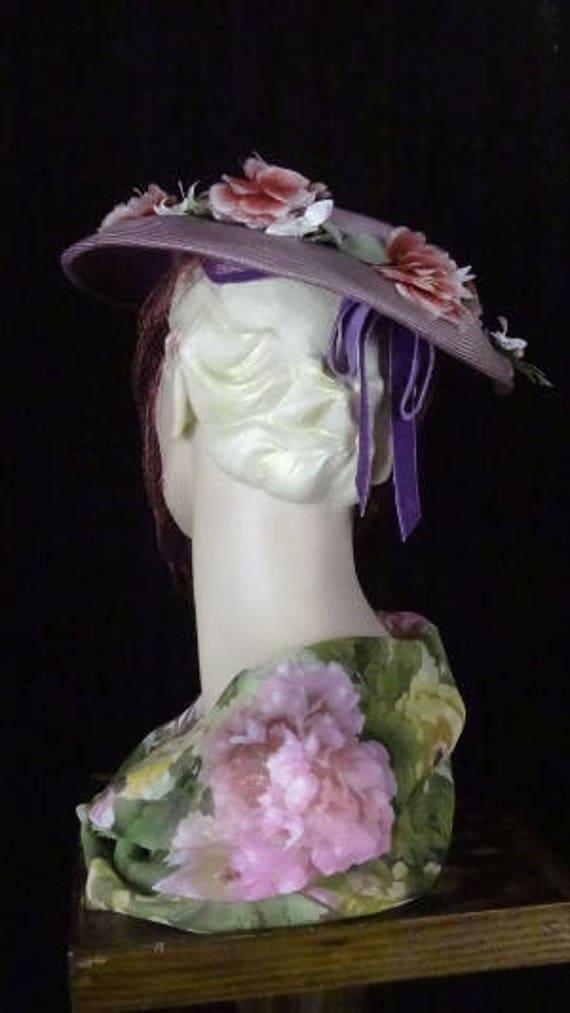 1940s Elegant Purple Platter Hat with Magenta Vei… - image 6