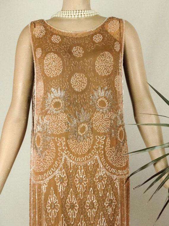 1920s Beaded Evening Dress Silk Chiffon Flapper O… - image 2