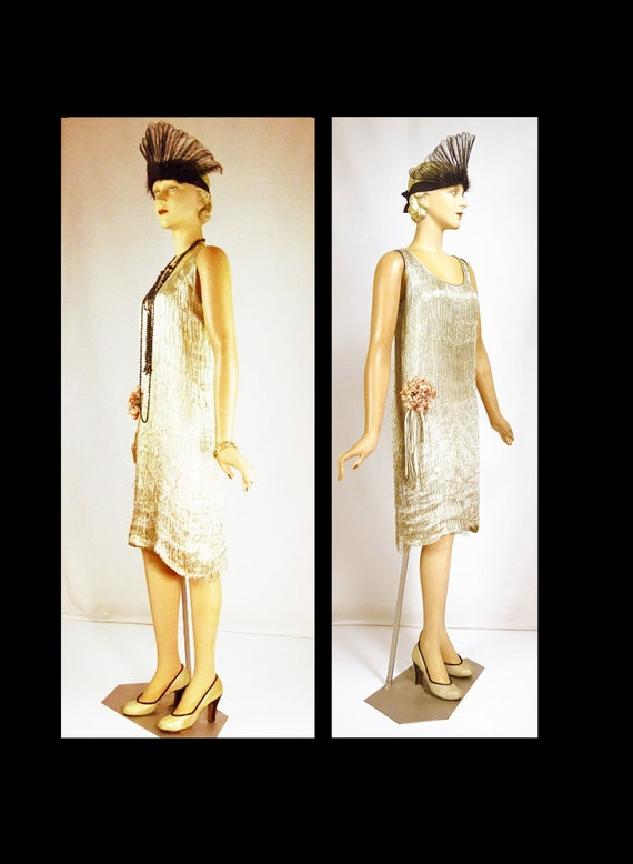 1920s Gold Lamé Silk Flapper Evening Dress With De