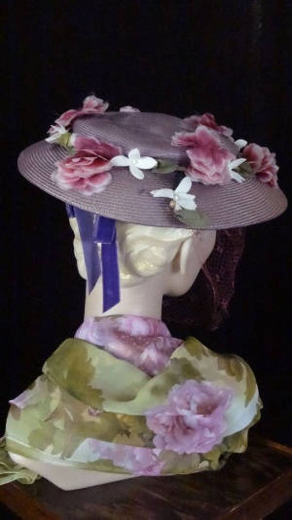 1940s Elegant Purple Platter Hat with Magenta Vei… - image 3