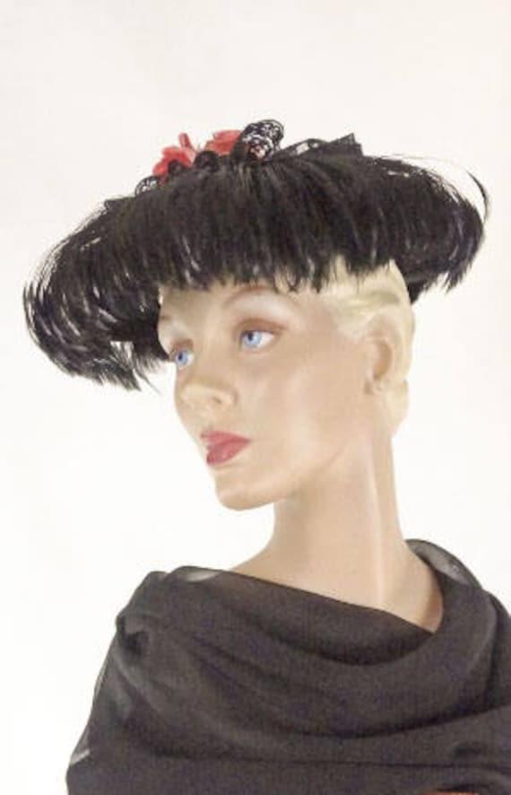 1940s 1950s Hat Black Velvet New Look Platter Topp