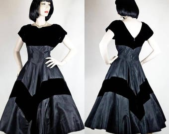 1940s 1950s Dress Rayon Satin and Velvet Fit n Flare New Look Sz 6-8 #1467