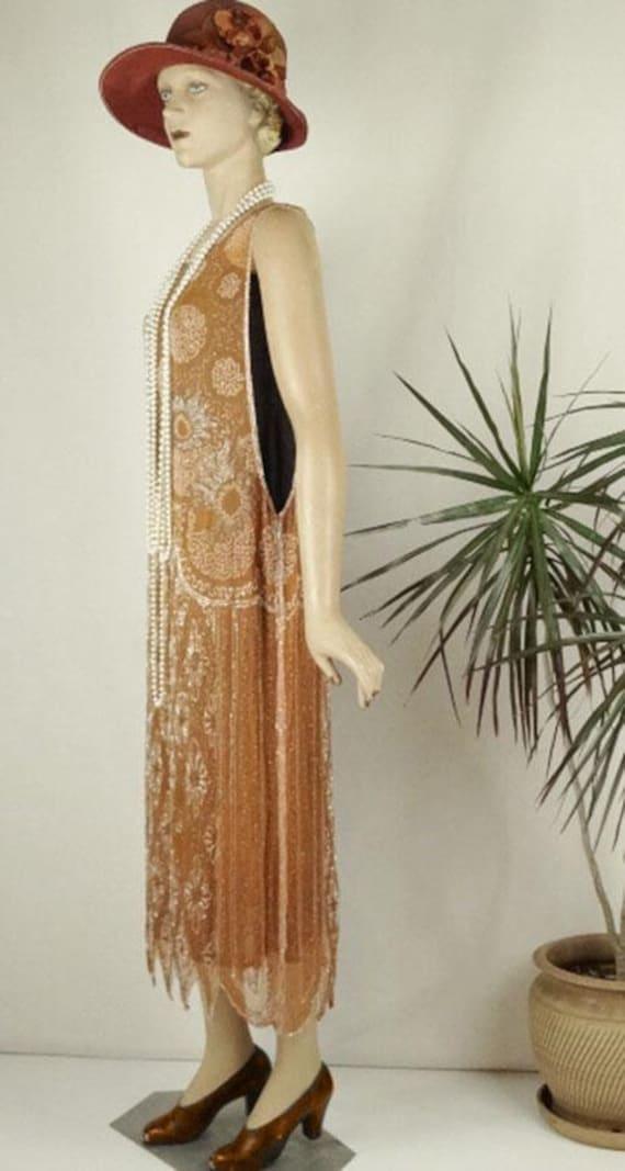 1920s Beaded Evening Dress Silk Chiffon Flapper O… - image 7