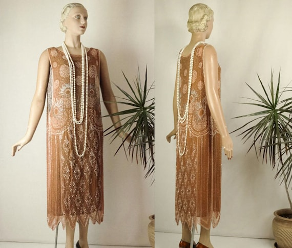 1920s Beaded Evening Dress Silk Chiffon Flapper Or