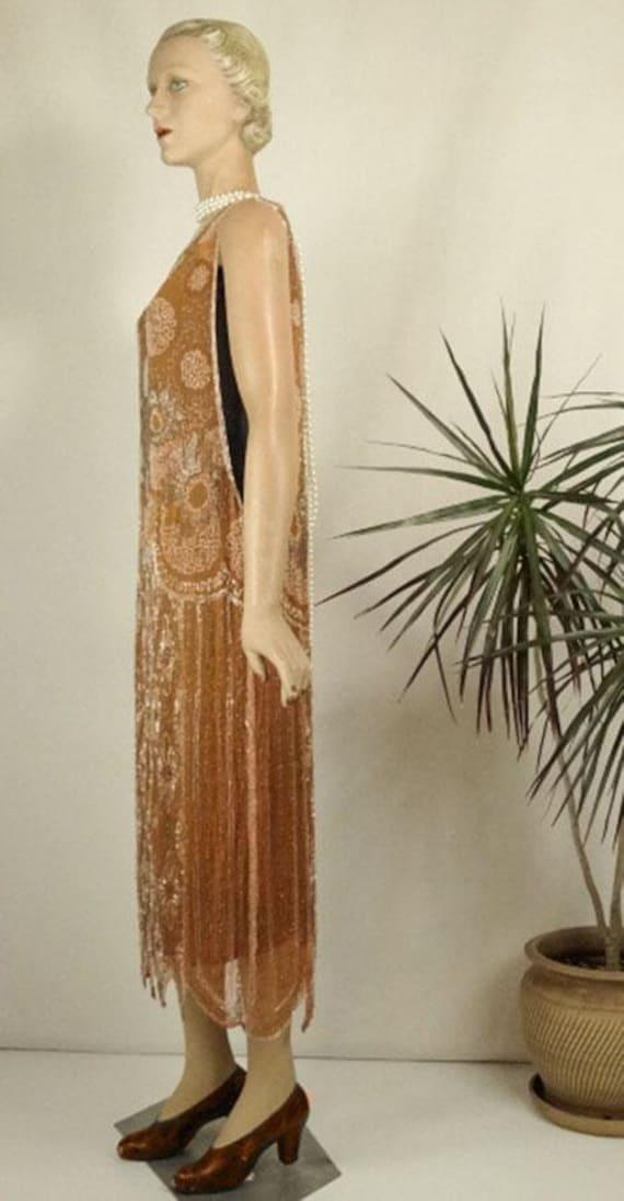1920s Beaded Evening Dress Silk Chiffon Flapper O… - image 9