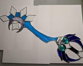 Kingdom Hearts Midnight Blue Keyblade Stained Glass