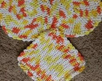 crocheted cotton dishrags
