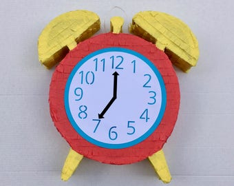 ALARM CLOCK PINATA, is about time, is late, now is the time, fiesta party