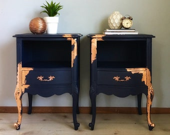 STUNNING Navy Side Tables With Copper Leaf End Tables Nightstands French  Provincial Vintage Antique French Provincial