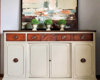 Credenza Da Cucina Traduzione : Stunning hand painted antique jacobean style buffet sideboard etsy