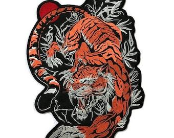 Red Tiger Large Biker Jacket Back Embroidered Patch Applique