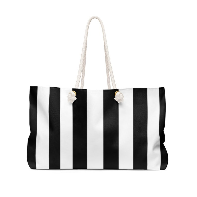 Watercolor Peony and Stripe Weekender Bag