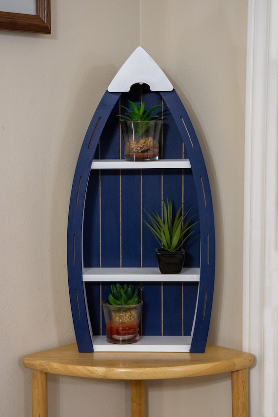 Personalized Boat Shelf Wood Burned Boat Shelf with Drawer Nautical Decor Home Decor Decorative Small Wooden Boat Shelf Miniature Boat
