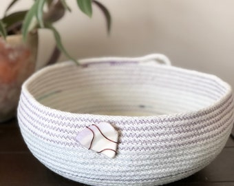 Cotton Rope Basket with Shell