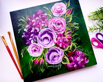 Floral Painting On Wood Panel