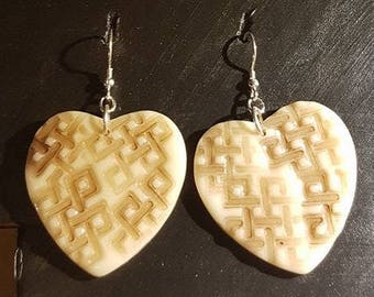 Hearts Polymer Earrings With 925 Sterling Silver Hooks