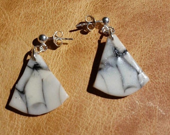 Polymer Triangular Glow in the Dark  Earrings With 925 Sterling Silver Hooks