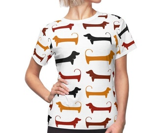 Dachshund Print Women's T-Shirt in White. Sausage Dog Pattern illustration/Drawing. Gift for Wiener Dog Lovers. All Over Print Ladies Tee