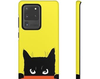 Black Cat iPhone & Samsung Tough Case. Matte/Glossy Finish.iPhone 8 Plus, X XR XS max,11 Pro Max,12 Mini/Pro Max. Galaxy S20 Ultra/Plus S10E