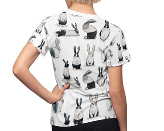 Rabbit Print Women's T-Shirt in White. Bunny Pattern illustration/Drawing. Gift for Rabbit Lovers. All Over Print Ladies Tee