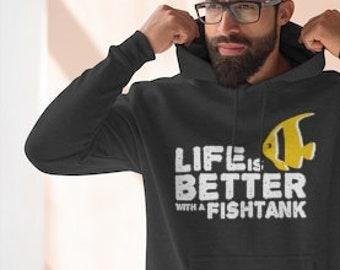 Aquarium Premium Men's/Unisex Hoodie. Gift for Fish lovers. Black, Dark Gray, Light Gray, Blue, Navy. Funny Phrases &Sayings.