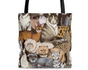 Cat illustration Tote Bag. Cute Cat Drawing. Gift for Cat Lovers.Shopping, Beach, Picnic, Everyday Unisex Tote Bag