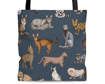 Cat illustration Tote Bag in Navy Blue . Cute Cat Drawing. Gift for Cat Lovers.Shopping, Beach, Picnic, Everyday Unisex Tote Bag